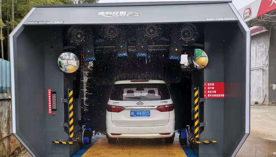 湖南郴州大坪加油站安装无人值守龙门洗车机